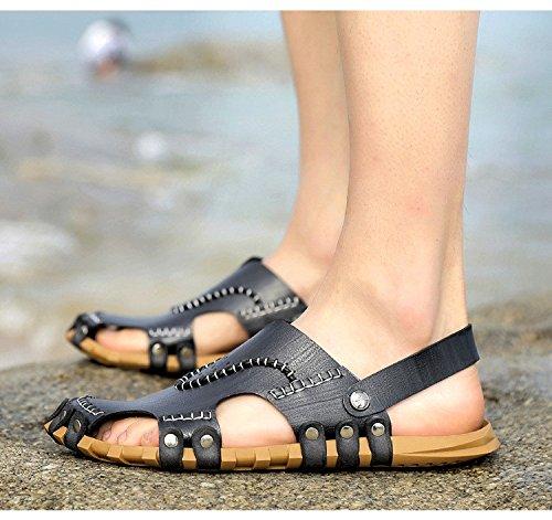 Pattini respirabili del pattino delle scarpe da spiaggia delle donne dei sandali della fibra di estate degli uomini di estate Uomini doppio uso, nero, UK = 6, EU = 39