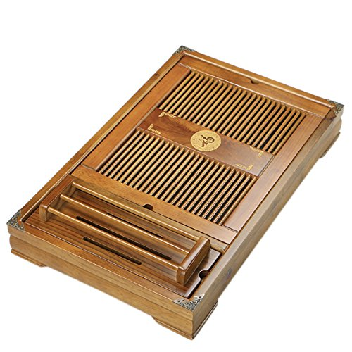 Tea Talent Reservoir & Drainage Type Solid Wood Tea Tray - Japanese / Chinese Gongfu Tea Table Serving Tray Box for Kungfu Tea Set 21.2 x 13.4 x 2.36 Inch, Original Color
