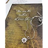 Smiling Wisdom - Helm Necklace Gift Set - You are the Author of Your Life - Life Journey Card - I Believe in You Message - Wisdom for Grad, Daughter, Young Adult, Niece, Woman - Real Platinum Plated