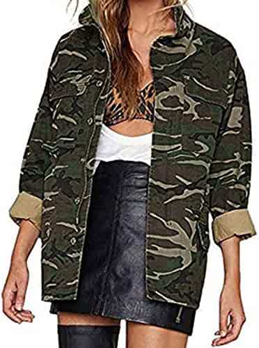 76ebf8f5a28c7 Paymenow Clearance Women's Lightweight Long Sleeve Military Jacket Coat Camo  Casual Jacket Outwear
