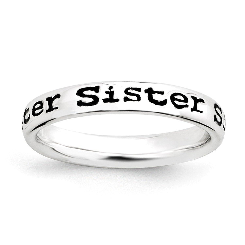 「妹」Enameledバンドスターリングシルバースタッカブル式リング B076RD4ZR2