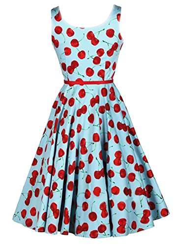 Losorn Vintage Cherry Rockabilly Bombshell Halter Pinup Swing Women's Dress (L, Blue)
