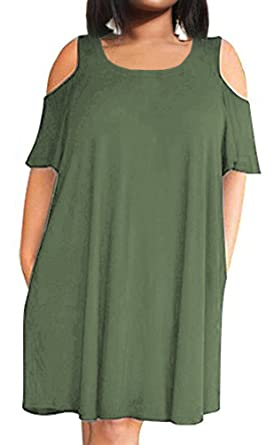 c514d88d560d4 POSESHE Women s Cold Shoulder Plus Size Casual T-Shirt Swing Dress with  Pockets Army Green