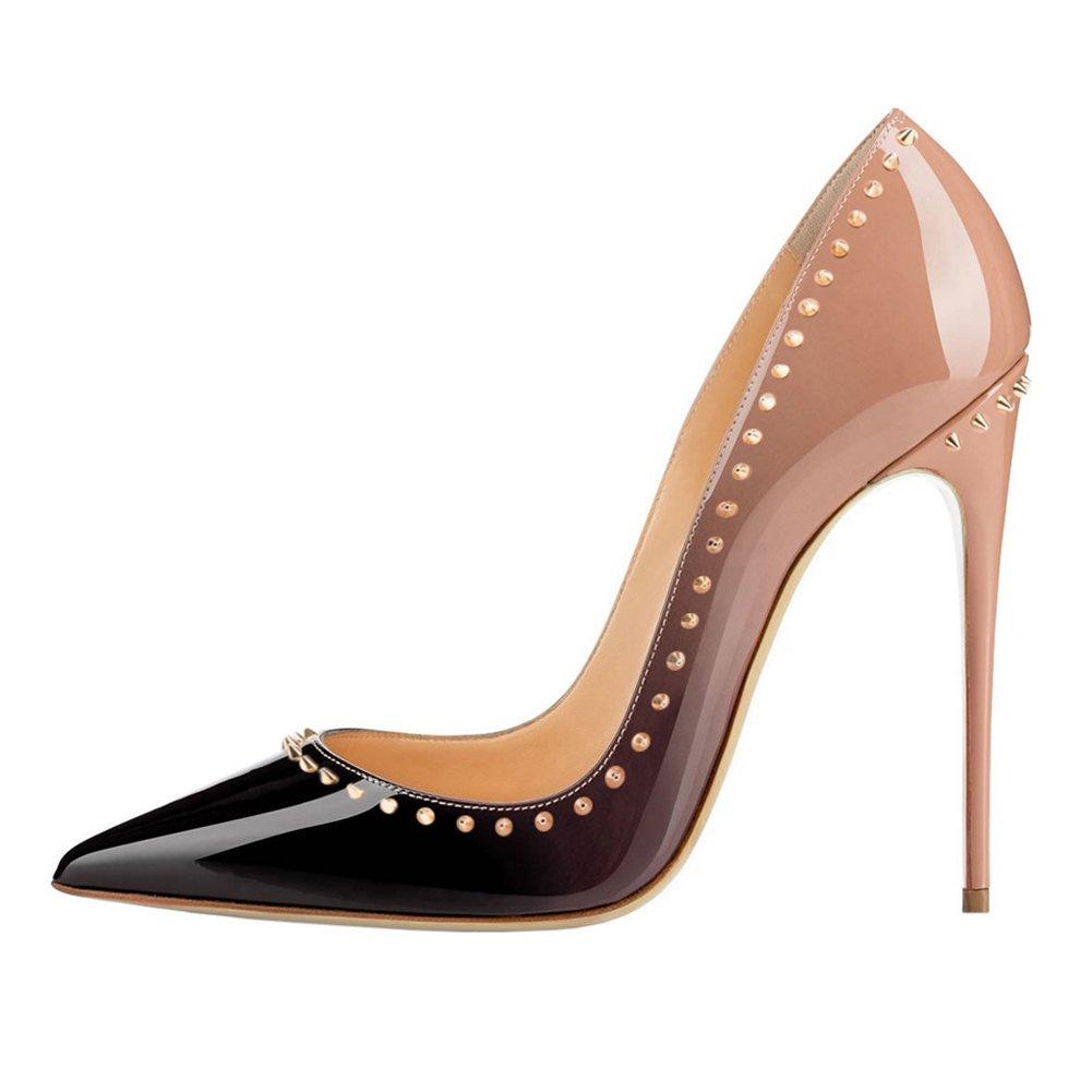 EKS - Zapatos de tacón alto con remaches Mujer 36 EU Nackt-Schwarz-12cm