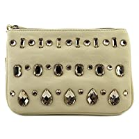 BIG BUDDHA Colton Top Zip Coin Pouch Wallet,Bone,One Size