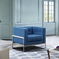 Andre LCAN1BLUE Contemporary Sofa Chair, Blue Fabric