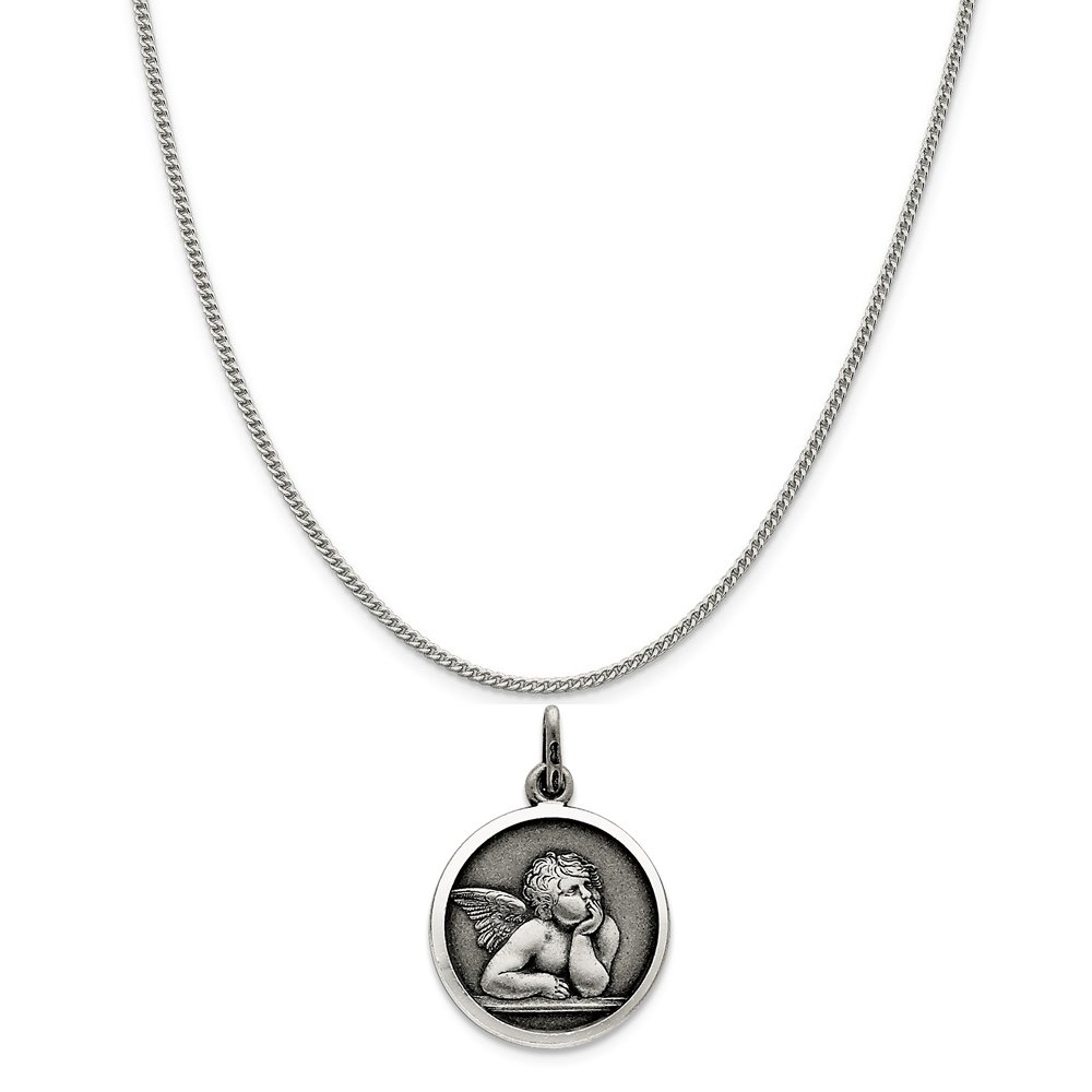 Mireval Sterling Silver Antiqued Raphael Angel Charm on a Sterling Silver Chain Necklace 16-20