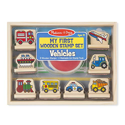 Melissa & Doug My First Wooden Stamp Set - Vehicles (Arts & Crafts, Sturdy Wooden Storage Box, Washable Ink, 10 Pieces, Great Gift for Girls and Boys - Best for 3, 4, 5, and 6 Year Olds)