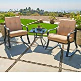 Outroad Outdoor Furniture 3 Piece Bistro Set Rocking Chairs and Glass Top Table, Thick Cushions, Black Steel