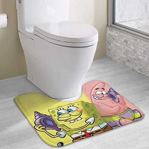 (Contour Bath Rug Spongebob Squarepants with Friends U-Shaped Toilet Floor Rug Shower Mat Non Slip Bathroom Carpet 19.3