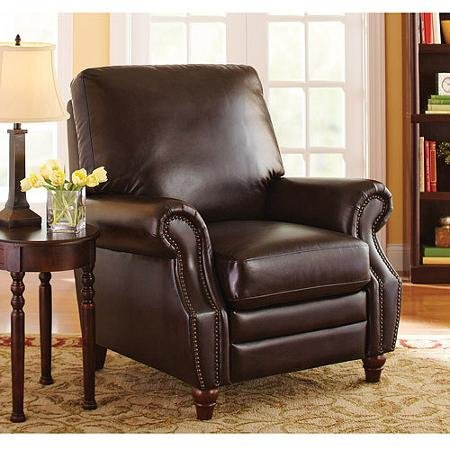 Leather Recliner Chair (Actual Color: Antique Brown Better Homes and Gardens Nailhead Leather Recliner)
