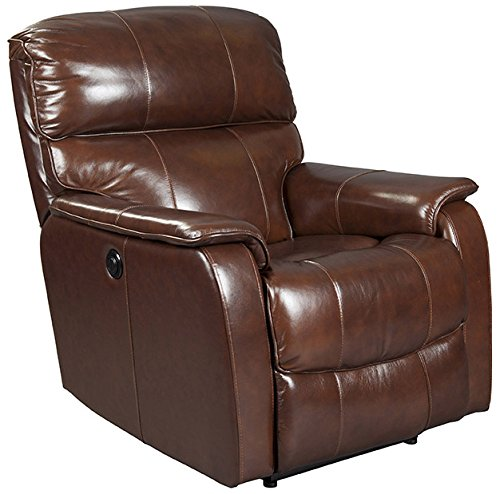 Mega Motion Dark Brown Leather Recliner with Power Recline (curbside (Brown Leather Motion Home Theater)