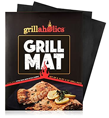 Grillaholics Grill Mat - Lifetime Guarantee - Set of 2 Nonstick BBQ Grilling Mats - 15.75 x 13 Inch