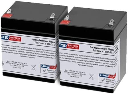 Universal UB1250 Sealed Lead Acid Battery Replacement Securitron PB2 12V, 5Ah, F1 Terminal, AGM, SLA Ademco 4110XM Compatible with Belkin F6C1500-TW-RK Set of 2 Powersonic PS-1250