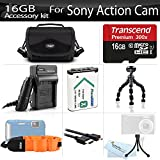 16GB Accessories Kit For Sony HDR-AS100V/W, HDR-AS100VR, HDR-AS200V, FDR-X1000V Action Cam Includes 16GB High Speed Micro SD Memory Card + Replacement (1600maH) NP-BX1 Battery + AC/DC Charger + Micro HDMI Cable + Flexible Tripod + Case + Float Strap +More