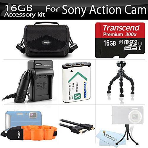 16GB Accessories Kit For Sony HDR-AS100V/W, HDR-AS100VR, HDR-AS200V, FDR-X1000V Action Cam Includes 16GB High Speed Micro SD Memory Card + Replacement (1600maH) NP-BX1 Battery + AC/DC Charger + Micro HDMI Cable + Flexible Tripod + Case + Float Strap +More by ButterflyPhoto