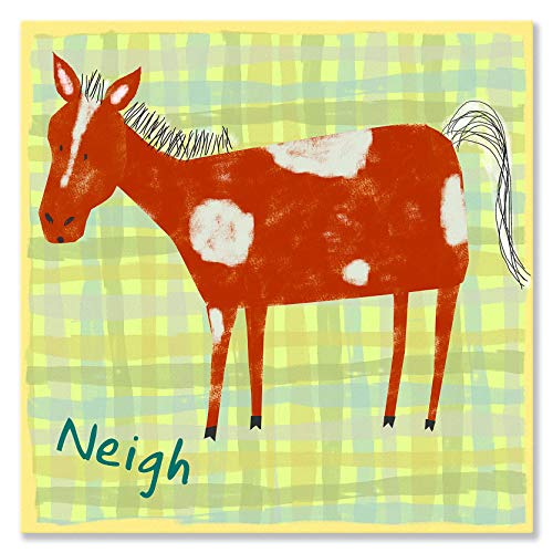 Oopsy Daisy Horse Says Neigh by Amy Schimler Safford Canvas Wall Art, 10 by 10-Inch