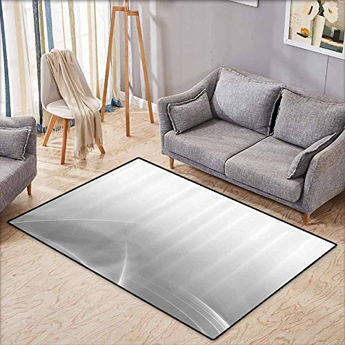 - Inner Door Rug Grey Decor Collection Digital Effect Gradient Light Metallic Wavy Color Abstract Theme Futuristic Style Shabby Home Platinum Non-Slip Door mat pad Machine can be Washed W7'8 xL4'9