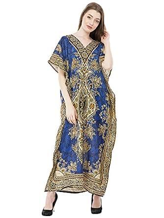 SKAVIJ Women\'s Tunic Viscose Kaftan Beachwear Maxi Dress (Free-Size)