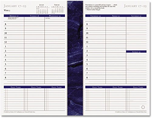 FranklinCovey(R) Monticello Planner Refill, 5 1/2in. x 8 1/2in., 30% Recycled, Blue/White, January to December 2018 (36229-18) (Monticello Monthly Planner Refills)