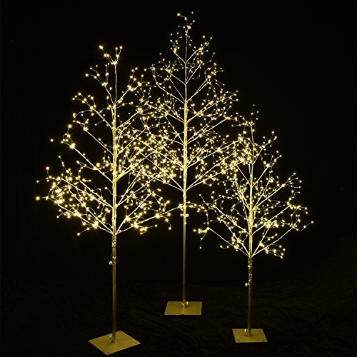 Decor Home Holiday (Lightshare Christmas Tree Combo Kit - Starlit Tree Collection with Warm White, 5 feet 4 feet and 3 feet, Golden, Pack of 3, Perfect For Home Decor Holiday Party Wedding)