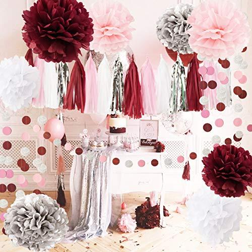 Qians Party Bridal Shower Decorations Burgundy Pink White Silver Wedding Decorations Tissue Paper Pom Pom Tassel Garland Burgundy Pink Birthday Party Decorations/Bachelorette Party Decorations