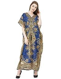 SKAVIJ Kaftan Dresses for Women V Neck Caftan Plus Size Long Nightgown Cover up