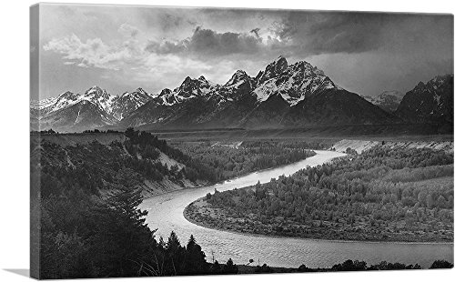 Adams Art Print - ARTCANVAS The Tetons - Snake River - Grand Teton National Park - Wyoming Canvas Art Print by Ansel Adams- 40