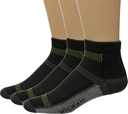 Wigwam Unisex Ultra Cool Lite Quarter 3-Pack Black Large