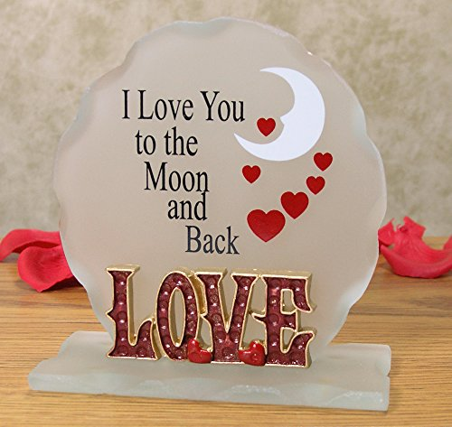 Mother Glass Plaque (I Love You To The Moon and Back - Frosted Glass Sign - Desktop Plaque with a Loving, Inspirational Saying - I Love You)