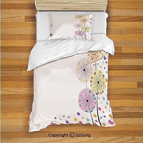 Abstract Floral Jersey - SoSung Colorful Kids Duvet Cover Set Twin Size, Abstract Dandelion Flowers with Cute Hearts Inside Floral Cartoon Romantic Artwork 2 Piece Bedding Set with 1 Pillow Sham,Multicolor
