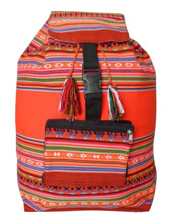 Art Hobo - Beach Bag, Backpack Color Mix Peruvian Arts Hippie Hobo Hand Made Peru Cotton 003313