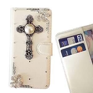 FOR Nokia Lumia 830 Cross Flowers Bling Bling PU Leather Waller Holder Rhinestone - - OBBA