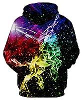GLUDEAR Unisex 3D Galaxy Unicorn Print Pullover Novelty Hoodies Hoody Sweatshirt Outwear,Colored Galaxy Unicorn,2X