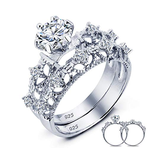 ANAZOZ 925 Sterling Silver Wedding Band Silver Princess Cut Double Ring White Crystal Size 7