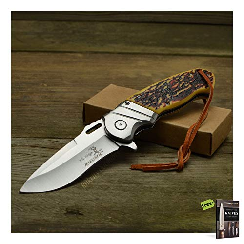 Elk Ridge Folding Pocket Knife Ballistic Assisted Opening Faux Jigged Bone Handle Linerlock Carbon Sharp Blade + Free eBook by SURVIVAL STEEL