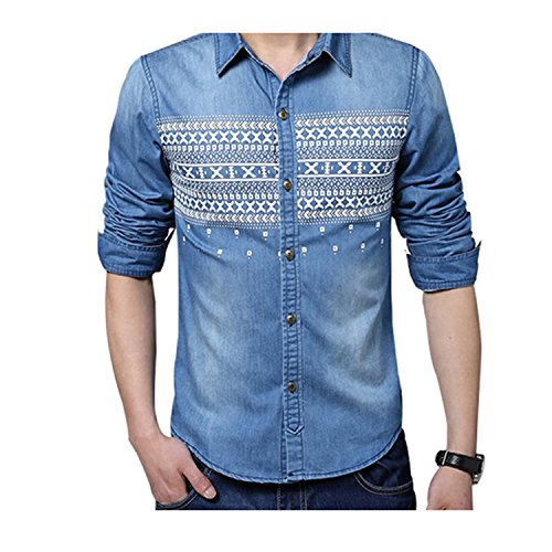NeeKer Jacket Men Shirt Fashion Print Denim Shirt Casual Slim Fit Long-Sleeved Cotton Shirt Z2181 Middleblue - Jacket La Denim Femme
