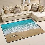 Naanle Summer Ocean Waves Starfish Non Slip Area Rug for Living Dinning Room Bedroom Kitchen, 60 x 90 cm(2' x 3' ft), Tropical Beach Theme Nursery Rug Floor Carpet Yoga Mat
