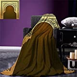 smallbeefly Moroccan Digital Printing Blanket Middle Eastern Ramadan Greeting Scroll Arch Figure Celebration Holy Eid Theme Summer Quilt Comforter Golden Brown