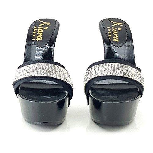 kiara shoes Zoccoli Neri con Strass Tacco 13 cm - K95011 Nero