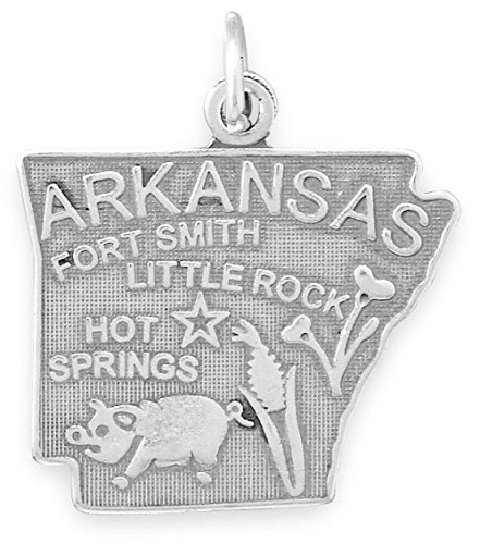 (Oxidized Sterling Silver Charm, State of Arkansas, 7/8 inch)