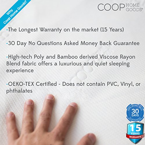Lulltra Waterproof Mattress Pad Protector Cover by Coop Home Goods - Cooling Waterproof Hypoallergenic Topper - Twin - White-15 year warranty by Coop Home Goods (Image #6)