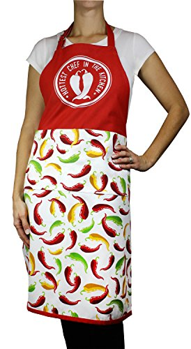 (MUkitchen 100% Cotton Adjustable Designer Print Apron, Chili Pepper - 35 inches)