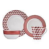 Brilliant - Aria Red 16 Piece Red & White Porecelain Dinnerware Set Service for 4