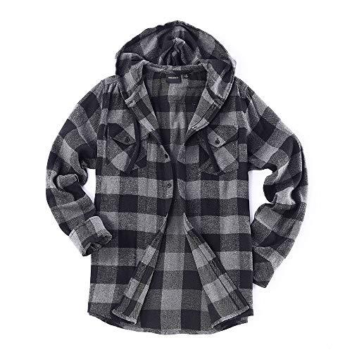 Men's Lightweight Flannel Long Sleeve Plaid Fleece Shirt with Hoodie (Large, ()