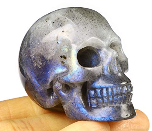 Skullis 2.0 Labradorite Crystal Skull, Hand Carved Gemstone Fine Art Sculpture, Reiki Healing Stone Statue. Flash Labradorite