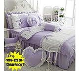 Purple Duvet Covers and Curtains FADFAY Cute Girls Short Plush Bedding Set Romantic White Ruffle Duvet Cover Sets 4-Piece,Purple Full