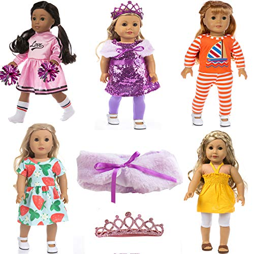 (10 Pieces) 5 Sets Doll Clothes for 18 inch Dolls – Girl Doll Clothes Dress for American 18 Inch Doll Clothes and Accessories – Including 5 Complete Set of Clothing Outfits