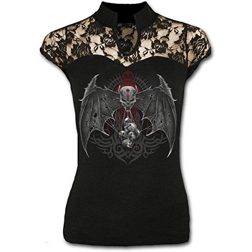 """Spiral Damen T-Shirt mit Spitzeneinsätzen und hohem Kragen """"Demon Tribe"""", Schwarz"""