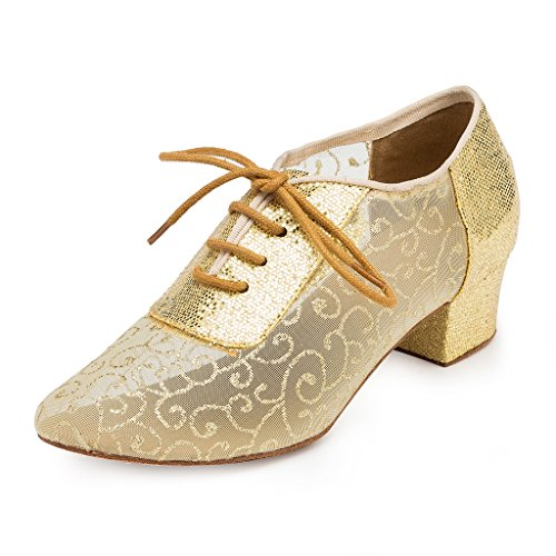 Wedding Sparkle CRC Synthetic Professional Stylish Party Ballroom Dance Material Womens Morden Toe Mesh Round Gold Shoes Tango wq7Xq1T